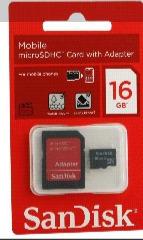 Cartão Memória Micro Sd 16 Gb Sandisk Lacrado Com Adaptador