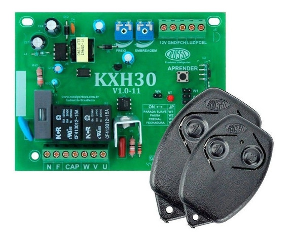 Kit Placa Motor Portão Eletronico Dz3 Sk Rossi 2 Controles
