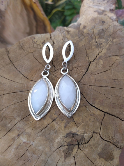 Conjunto Quartzo Branco Natural Prata 950 - Pronta Entrega