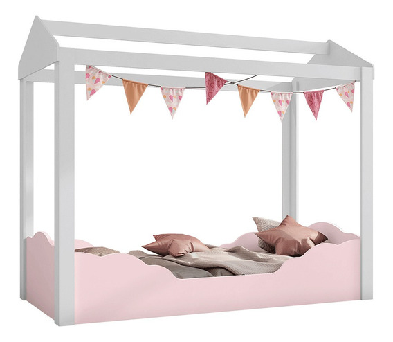 Mini Cama Infantil Montessoriana Colorê Bco/rosa Puramagia