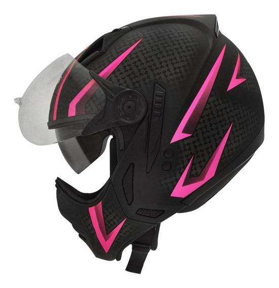 Capacete para moto multi-modular Peels Mirage Storm preto, rosa tamanho 58
