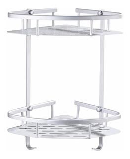 Set Rack Organizador Baño Rincon Aluminio 2 Estantes