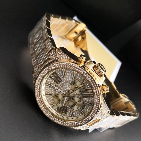 Relógio Michael Kors Cravejado Prova D Gua 100 Metros