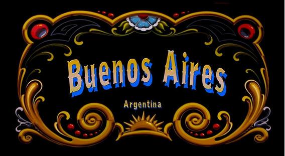 Cartel Retro Vintage Filete - Buenos Aires - 25 X 15 Cm
