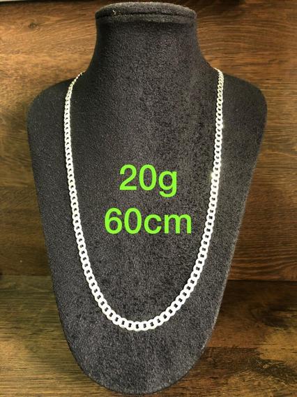 Colar De Prata Italiana 925 Modelo Groumet 20g 60cm