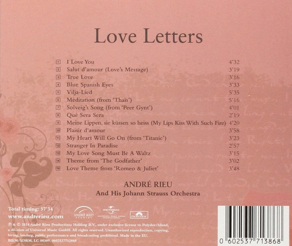 Andre Rieu Cd Love Letters