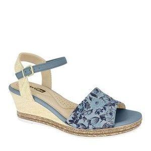 Sandália Plataforma Canvas Azul Pastel & Bege Claro Confot