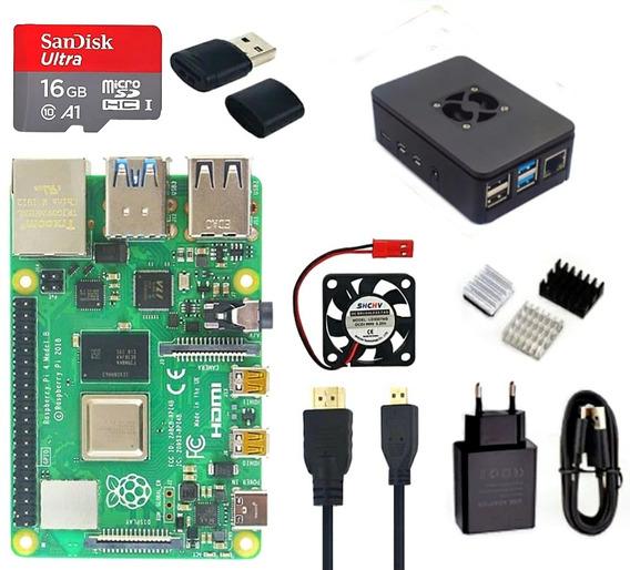 Kit Raspberry Pi 4 Pi4 8gb Sd Sandisk Fonte Case Hdmi..