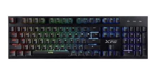 Imagen 1 de 3 de Teclado gamer XPG Infarex K10 QWERTY inglés US color negro con luz RGB