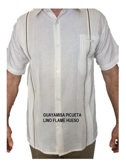 Guayabera 3xl (46) Lino Flame Calidad Premium Yucateca Mc