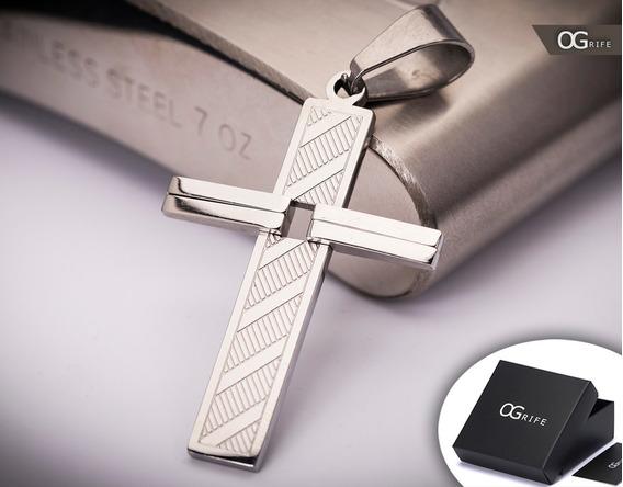 Pingente Crucifixo P/ Corrente Aço Inox J-335 Prata