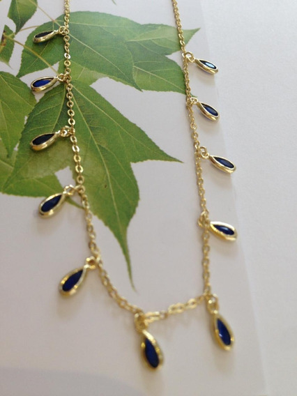 Collar Plata Con Baño De Oro Gotas Color Azul Zafiro
