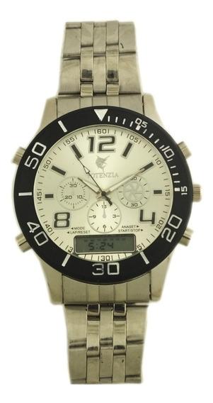 Relógio Pulso Masculino Potenzia Pulseira Prateada B5665