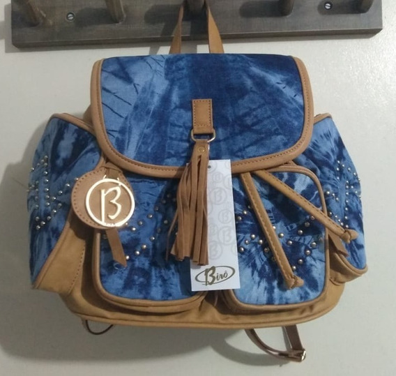 Bolsa Mochila Jeans C/ Caramelo Birô - Pronta Entrega