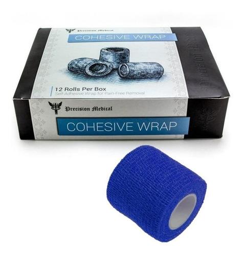 Fita Adesiva Bandagem Elastica Coesiva 12 Unidades Azul