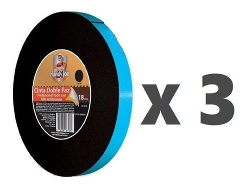 Cinta Doble Faz Tipo  3m  5m * 18mm Negra Extra Fuerte