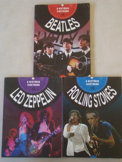 Lote 3 Livros - História Ilustrada - Beatles Rolling Stones