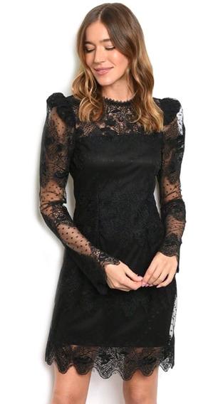 Vestido Corto De Encaje Negro Manga Abullonada, Elegante.