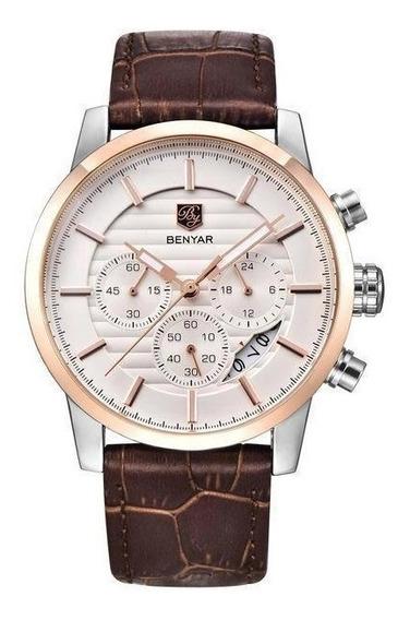Relógio Masculino Benyar By-510 De Couro Cronógrafo
