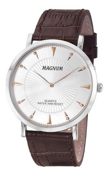 Relógio Masculino Dourado Magnum Ma21900s Slim Em Couro