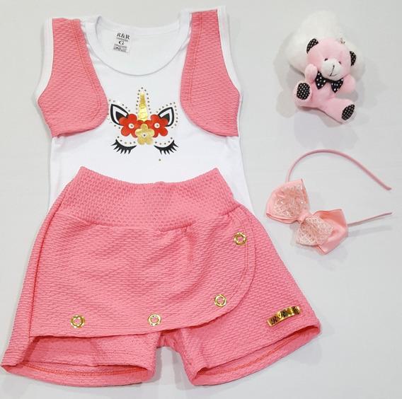 Kit 5 Conj Unicornio/minie/lol Shorts Saia Blusinha Tiara