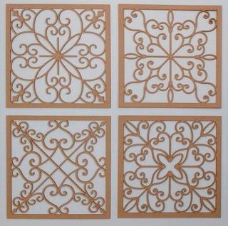 Cabeceira De Cama Mdf 4 Painéis Decorativo 45x45 Escultura P