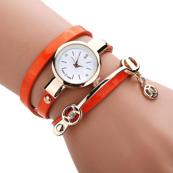 Relógio Feminino Bracelete Couro Laranja Acabamento Impecáve