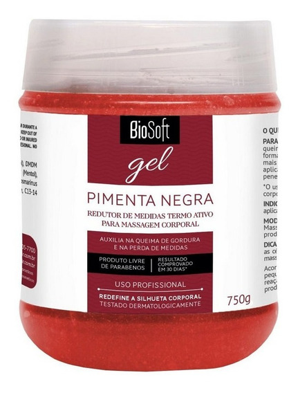 Gel Redutor De Medidas Gordura Pimenta Negra 750 G Biosoft