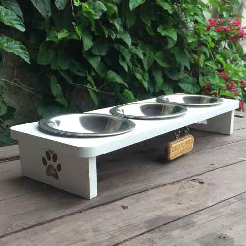 Comedouro Cachorro/gato Triplo Mdf- Míni - Frete Grátis