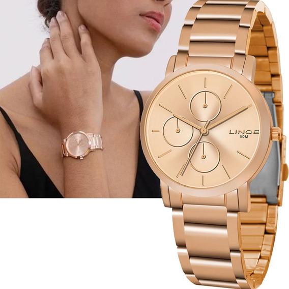 Relógio Feminino Lince Rosê Original Lmr4568l R1rx