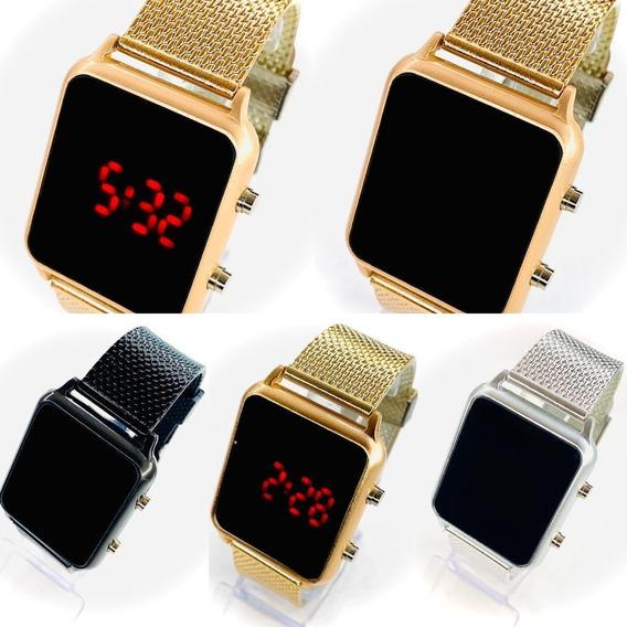 Kit Com 5 Relógio Digital Led Unissex Atacado Revenda Barato