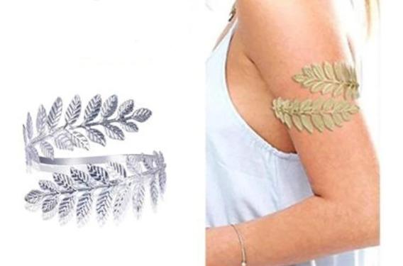 Luxo Pulseira Bracelete De Braco Prateada Folhas Fashion