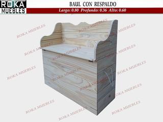 Baul Con Respaldo Asiento Pino 0.80 Roka