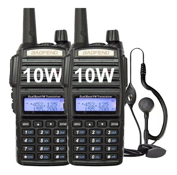 Kit X 2 Handy Baofeng Uv82 10w Bibanda Radio Walkie Talkie Vhf Uhf + Auricular Manos Libres