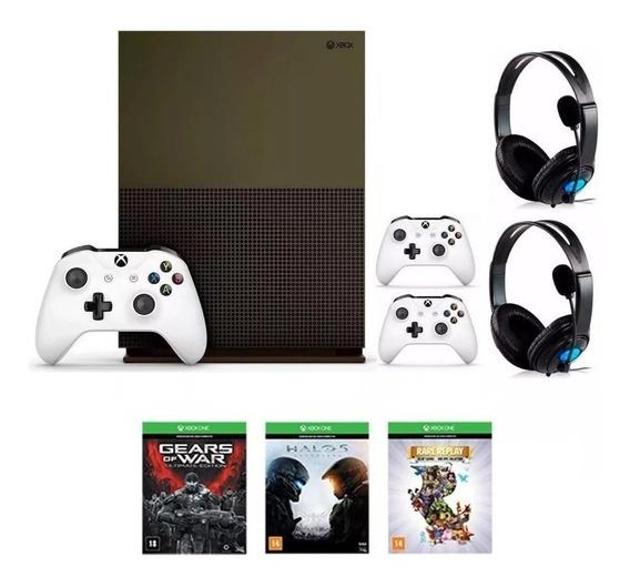Xbox One S 1tb 4k C/ 2 Controles + 3 Jogos + Live + 2 Fones