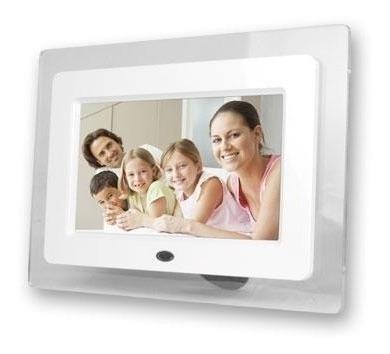 Porta Retrato Digital 7 Pol Lcd Videos Usbc/ Controle Branco