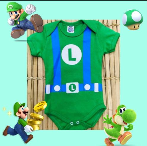 Body Bebê Luigi Mário World Temático