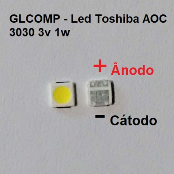 Led Smd Tv Toshiba Aoc Original 3v 1w 3030 C/ 60 Pçs Carta