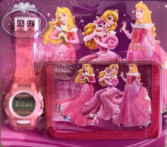 Relógio Digital Com Carteira Magic Princess Infantil