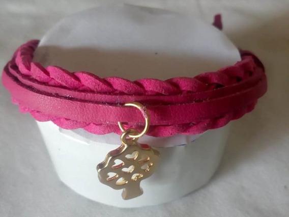 Pulseira Couro Com Camurça Rosa (feminina)