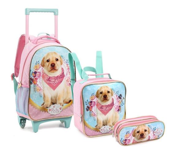 Kit Mochila Com Rodinha Grande Infantil Menina Gata/cachorro