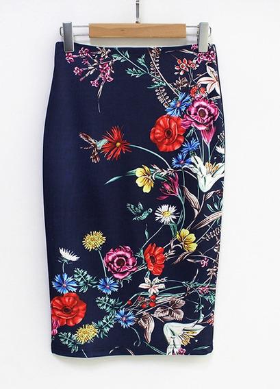 Mujeres Lápiz Falda Vendimia Floral Impresión Alto Cintura