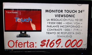 Monitor Touch Screen Táctil 24 1080p, Full Equipo, Parl Usb