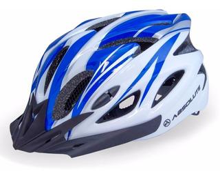 Capacete Absolute Sinalizador Led Ciclismo Bike Nero Azul