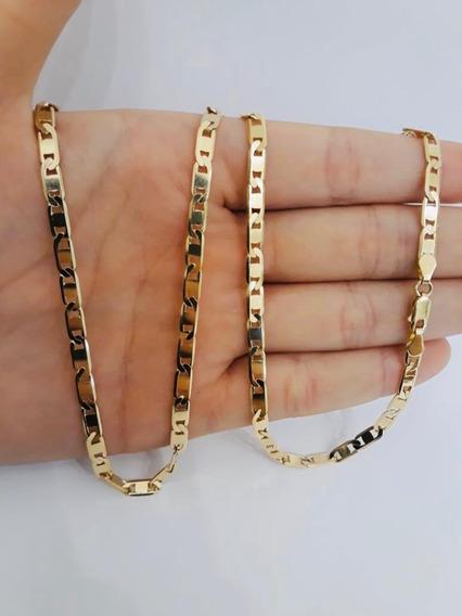 Cordão Grosso Corrente Masculino Ouro 18k 60cm Piastrine