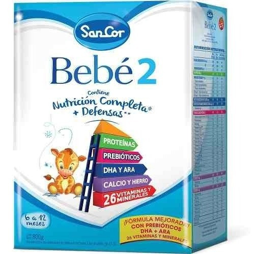 Leche Sancor Bebe 2 (6 A 12 M) Nutricion Polvo 2 X 800 Grs