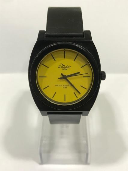 Relógio Condor Preto Com Fundo Amarelo Analógico C Nf