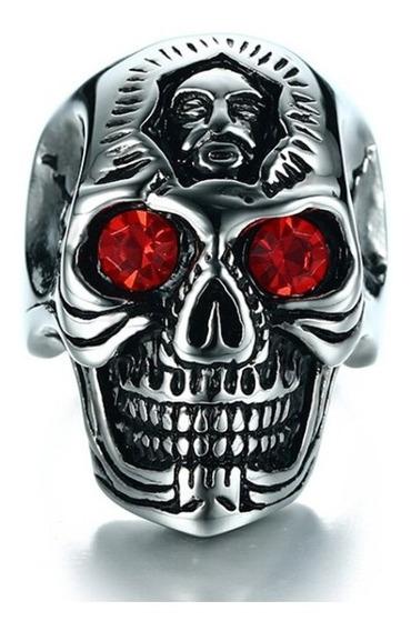 Anel Caveira Crânio Olho Vermelho Aço Inoxidável Gótico