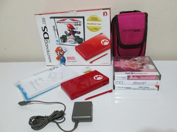 Nintendo Ds Light Edição Mario Kart Com Bolsa (original)
