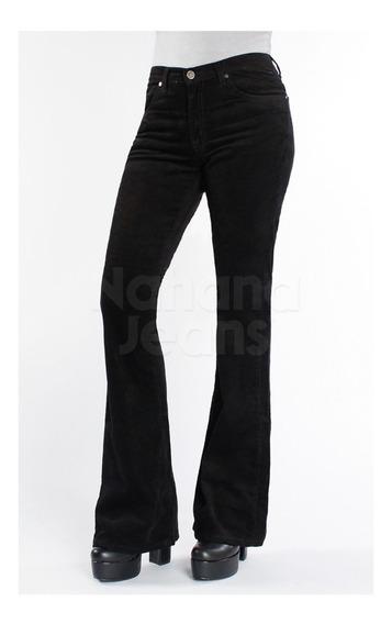 Nahana Jeans Corderoy Premium Oxford Negro Tiro Alto